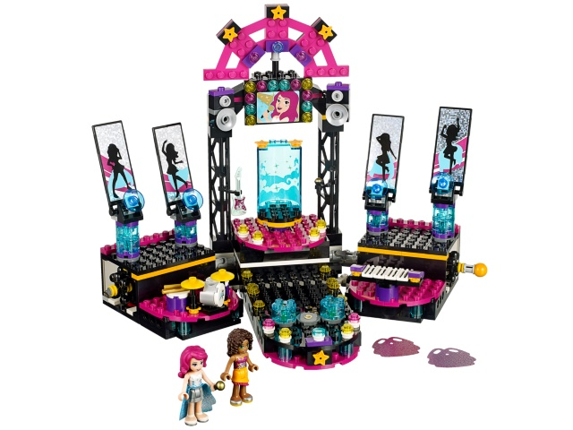Image of a 3-part LEGO Pop Stage, with moving spotlights controlled by the axels