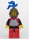 Breastplate - Red with Black Arms, Red Legs with Black Hips, Dark Gray Grille Helmet, Blue Plume, Blue Plastic Cape