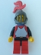 Breastplate - Red with Black Arms, Red Legs with Black Hips, Dark Gray Grille Helmet, Red Plume, Blue Plastic Cape