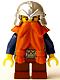 Fantasy Era - Dwarf, Dark Orange Beard, Metallic Silver Helmet with Studded Bands, Dark Blue Arms, Pale Brown Beard