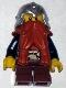 Fantasy Era - Dwarf, Dark Orange Beard, Metallic Silver Helmet with Studded Bands, Dark Blue Arms, Brown Eyebrows, Thin Grin
