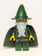 Kingdoms - Dark Green Wizard, Light Bluish Gray Beard, Cape (Chess King)