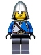Castle - King's Knight Blue and White with Chest Strap and Crown Belt, Helmet with Neck Protector, Angry Eyebrows and Scowl