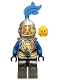 Castle - King's Knight Armor with Lion Head with Crown, Helmet with Fixed Grille, Blue Plume