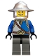 Castle - King's Knight Blue and White with Chest Strap and Crown Belt, Helmet with Broad Brim, Open Grin
