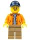 Orange Jacket with Hood over Light Blue Sweater, Dark Tan Legs, Dark Blue Cap with Hole (4000022)