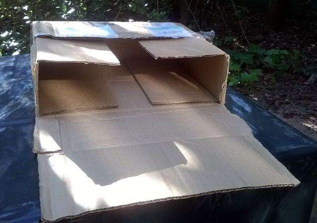 Older, single layered, cut to size cardboard box